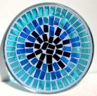 Blue Mosaic Plate Pillar Candle Holder