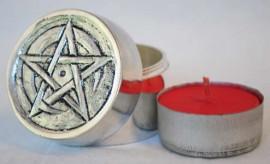 Sealable Pentagram and Crescent Tealight Holder