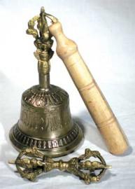Brass Tibetan Dripu Bell and Dorje Set