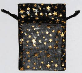 Small Black Organza Pouch with Gold Stars