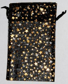 Large Black Organza Pouch with Gold Stars
