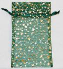 Large Green Organza Pouch with Gold Stars