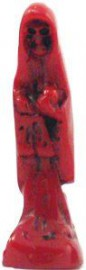 """Holy Death-Santisima Muerte Statue 3"""" Tall Resin Finish/Red"""
